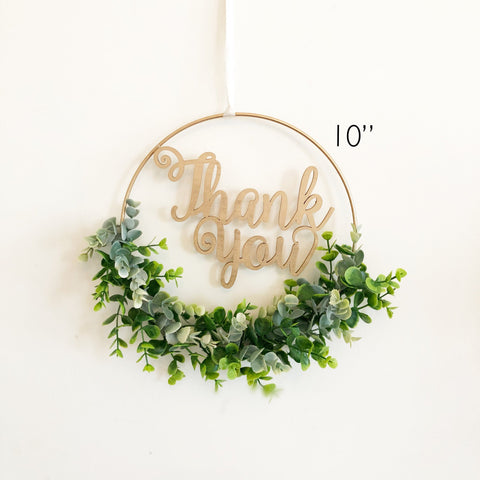 "10"" Modern Hoop Wreath With Greenery, Thank you Sign, Bridal Shower Wreath, Modern Style Wreath, Greenery Baby Shower"