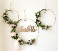 "Set of 3 - Nursery Floral Hoop Wreaths, 19"" , 14"", and 10"" with laser cut name, Floral Wreaths For Nursery, Floral Wreaths Backdrop"