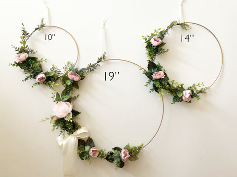 "Set of 3 - Nursery Floral Hoop Wreaths, 19"" , 14"", and 10"" , Floral Wreaths For Nursery, Backdrop Floral Wreaths , Floral Hoop Wreaths"