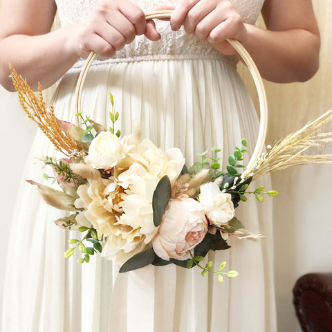 "READY TO SHIP - Hoop Bridal Bouquet - Modern Hoop Bridal Bouquet- Fall Bridal Bouquet - Cream Bridal Bouquet - 10"" wood hoop bridal bouquet"