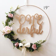 "19""  One Derful Floral Wreath Backdrop, First Birthday Floral Hoop Wreath Backdrop, Wreath for First Birthday, Hoop Floral Wreath"