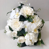 READY TO SHIP - Deluxe White Bridal Bouquet with Floral Comb and Boutonnière - Faux White Bridal Bouquet - Destination Wedding Bouquet
