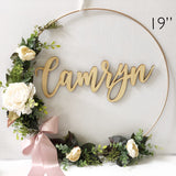 "19"" Nursery Wreath With Name - Blush Floral Baby Shower Wreath - Baby Shower Wreath with Name - Girl Nursery wreath Backdrop"