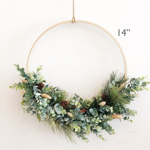 "14"" Farmhouse Style Fall Hoop Wreath, Modern Autumn Greenery Wreath, Holiday Wreath, Fall Farmhouse Wreath, Modern Wreath, Farmhouse Style"