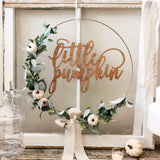 "19"" Little Pumpkin Floral Wreath, Baby Shower Little Pumpkin Backdrop, Wreath for Baby Shower, White Pumpkin Hoop Wreath for Nursery"