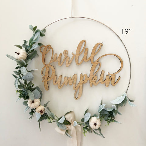 "19"" Our Lil' Pumpkin Floral Wreath, Baby Shower Little Pumpkin Backdrop, Wreath for Baby Shower, White Pumpkin Hoop Wreath for Nursery"