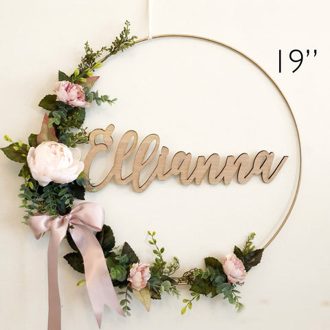 "19"" Nursery Wreath With Name - Baby Shower Hoop Wreath - Baby Shower Wreath with Name - Girl Nursery Wreath - Floral Wreath Backdrop"