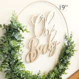 "19"" Oh Baby Greenery Backdrop Wreath, Wreath for Baby Shower, Greenery Hoop Wreath for Nursery, Baby Shower Wreath - Faux Eucalyptus Wreath"