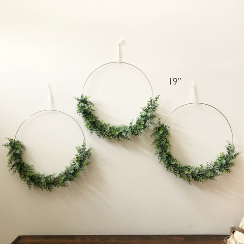 "Set of Three 19"" Large Modern Hoop Wreaths - Large Hoop Wreath, Faux Eucalyptus Wreath, Modern Style Wreath, Greenery Nursery Wreaths"