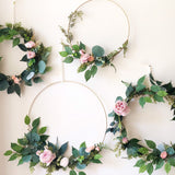 "Set of 4 - Nursery Floral Hoop Wreaths, 19"" , 14""x2 and 10"" , Backdrop Floral Wreaths For Nursery, Nursery Wall Decor, Blush  Hoop Wreath"