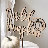 Our Lil' Pumpkin Cake Topper - Pumpkin Themed Baby Shower Cake Topper - Wood Our Lil' Pumpkin Cake Topper