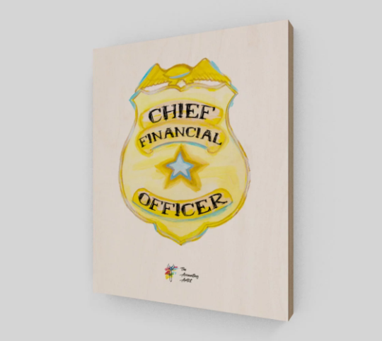 CFO Office Decor - Chief Financial Officer Badge Art Print on Birch Wood Panel