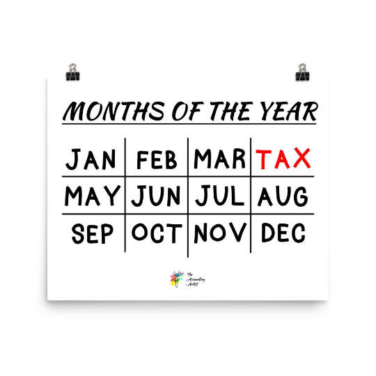 Tax Print Months of the Year