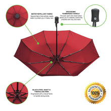 Umbrella With Waterproof Case - Automatic Open And Close With Rain Repellent Fabric And Windproof Fibreglass Ribs - Compact for Easy Travel