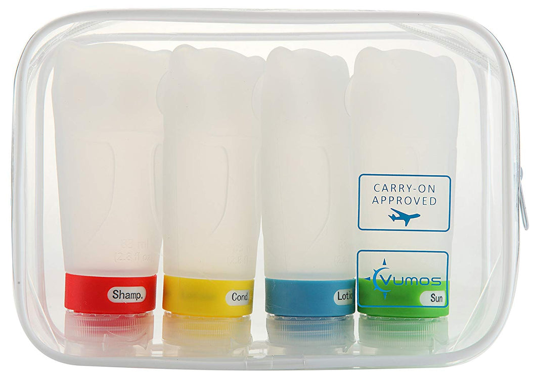 Travel Bottles Set of Four 2.8oz Leak Proof Silicone bottles with TSA Approved Bag ...