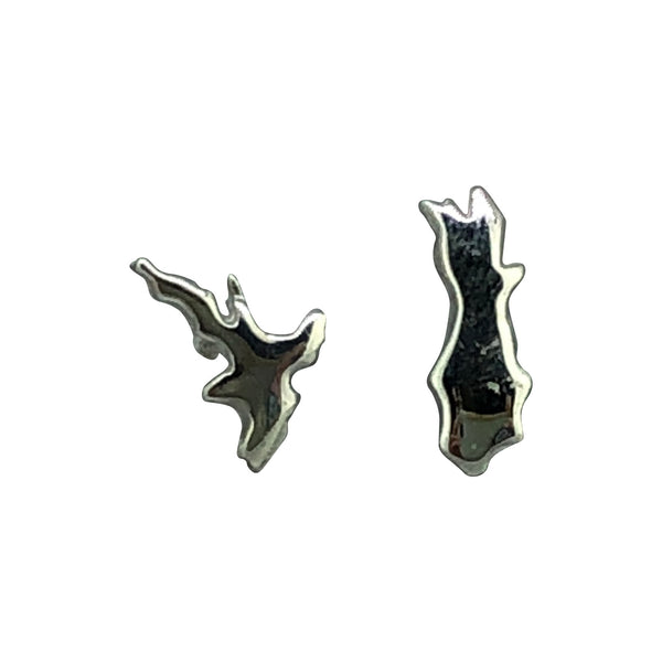 North & South Island Sterling Silver Studs