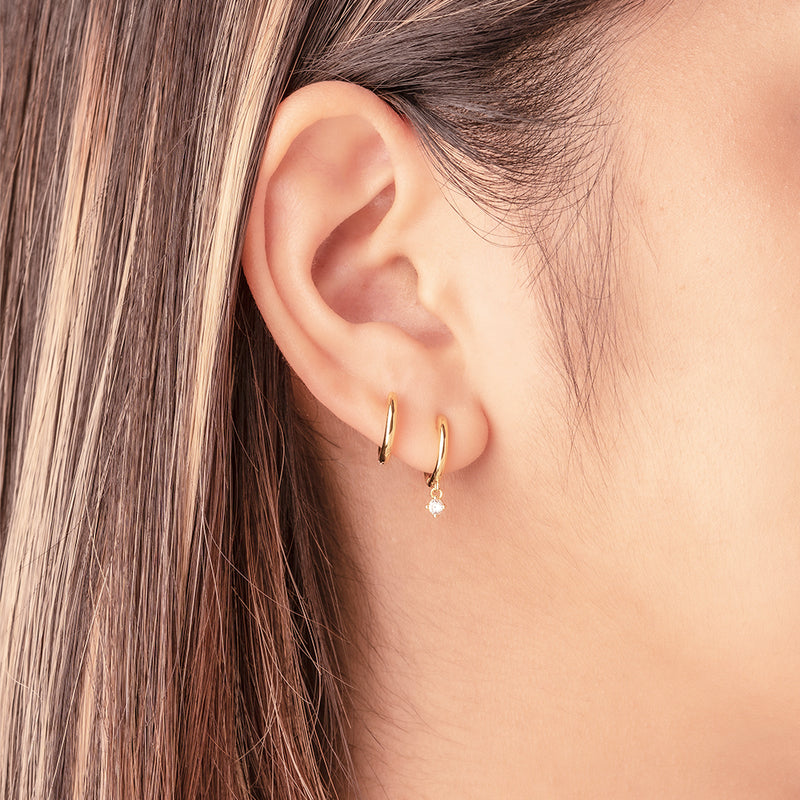 Drop Zircon Mini Hoop Earrings