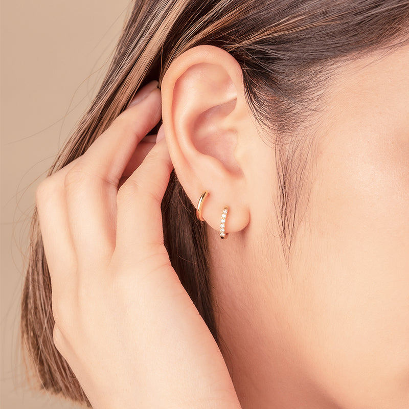Mini Paved Hoop Earrings