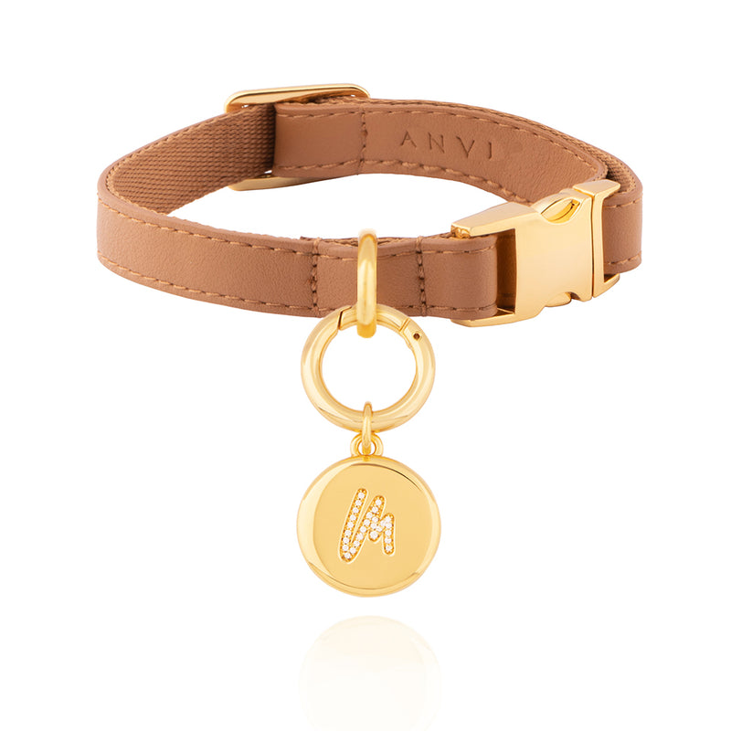 Pet Leather Collar - Letter Charm