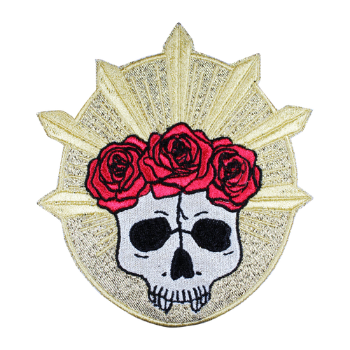 Rose Crown Skull Metallic Patch