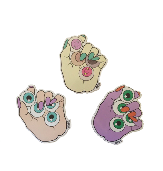 Monster Hands Full of Eyeballs & Boobs Stickers