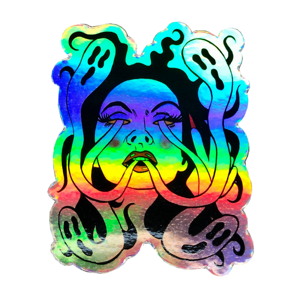 Ghost Girl Holographic Sticker