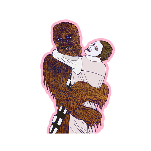 Chewie and Leia Sticker