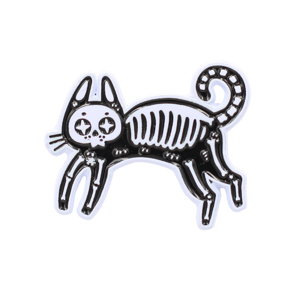 Skeleton Cat Pin