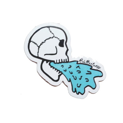 Barfing Skull Sticker