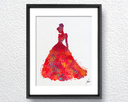 Red Princess Silhouette Room Decor Item309