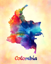 Colombia Map Watercolor Print Art Print - Item247
