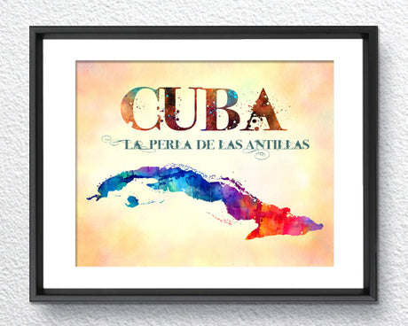 Cuba Map, Made in USA, Watercolor Print, Art Print, Wall Art Poster, Wall Decor, 322