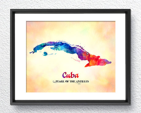 Cuba Map, Made in USA, Watercolor Print, Art Print, Wall Art Poster, Wall Decor, 342