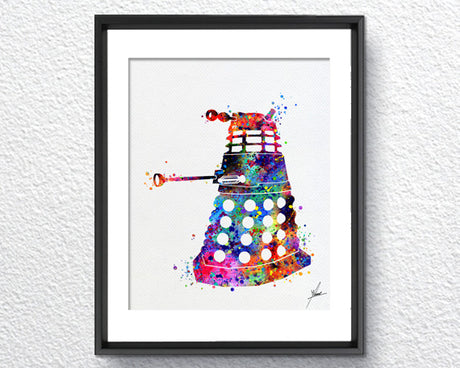 Dalek from Dr Who, Watercolor, Painting Print, Item298