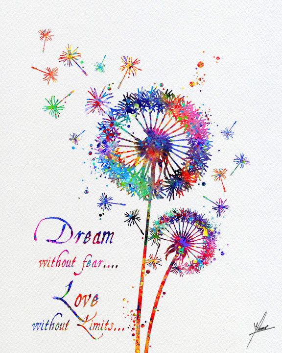Dandelion Flowers Print,  Nature Love Watercolor Print, Item252