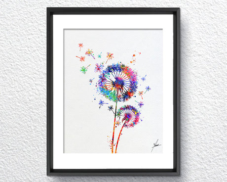 Dandelion Flowers Print,  Nature Love Watercolor Print, Item253