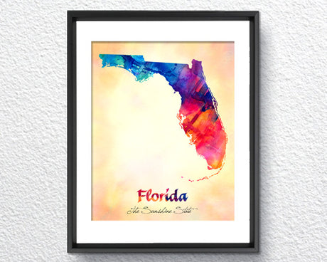 Florida Map USA, Watercolor Print, Art Print, Item102