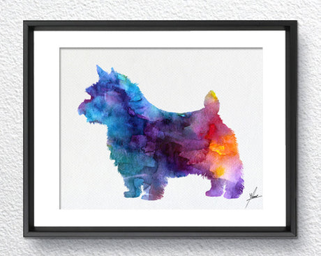 Dogs Watercolor Print, Norwich Terrier Art, Watercolor illustration Print,  Item 236