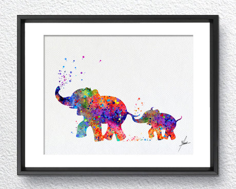 Elephant Family Art Print, Art Print, Watercolor Painting, Wedding Gift, Item 356