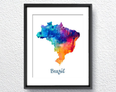 Brazil Map Watercolor Print - Item249