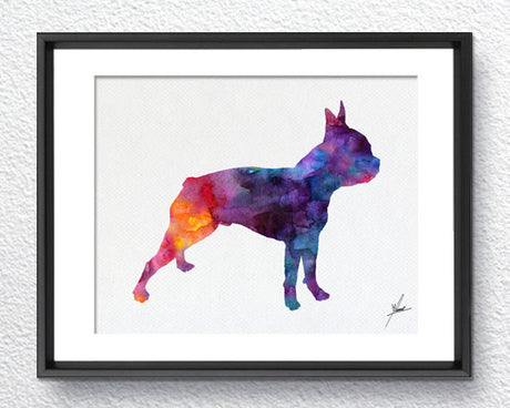 Boston Terrier Print - Watercolor - Wall Art Poster - AbstractWall - Abstract - Decor - Art Home Decor - Wall Hanging Item 243