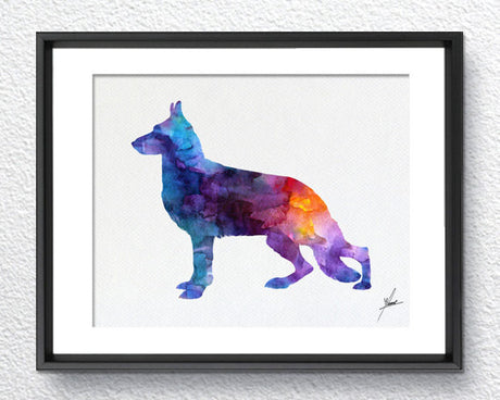 German Shepherd Print - Watercolor - Wall Art Poster - AbstractWall - Abstract - Decor - Art Home Decor - Wall Hanging Item 250