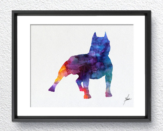Pitbull Print - Watercolor - Wall Art Poster - AbstractWall - Abstract - Decor - Art Home Decor - Wall Hanging Item 251