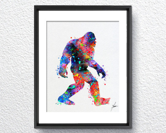 Sasquatch Print - Watercolor - Wall Art Poster - AbstractWall - Abstract - Decor - Art Home Decor - Wall Hanging Item 255