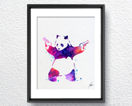 Banksy Panda Bear Watercolor Painting Art Print Wall Art Poster Giclee Wall Decor Art Wall Hanging 274
