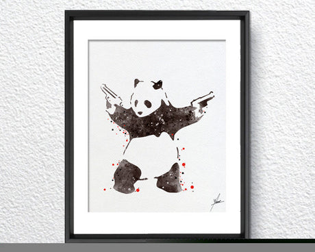 Banksy Panda Bear Watercolor Painting Art Print Wall Art Poster Giclee Wall Decor Art Wall Hanging 275