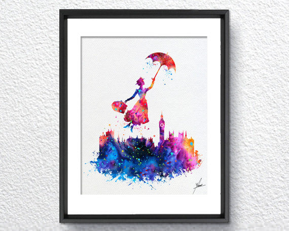Mary Poppins Watercolor illustrations Art Print Wall Art Poster ...