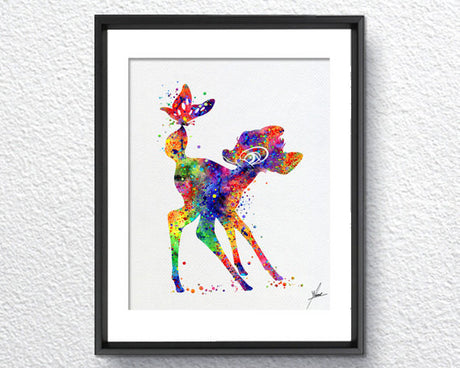 Bambi Disney Inspired Watercolor Print Fine Art Print Kids Art for Boys and Girls Nursery Art Wedding Gift Prince Room Item 281