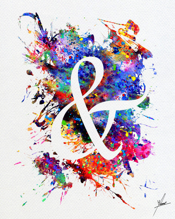 Ampersand Watercolor Typography Art Print Item 282