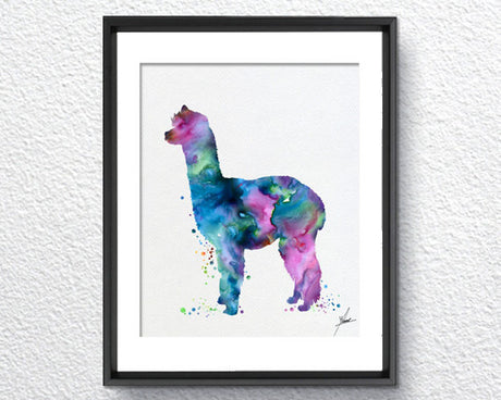 Alpaca Art Print Watercolor Print Nursery Illustration Giclee Kids Children Wall Comic Baby Room Decor Wall Art Wall HangingItem 283